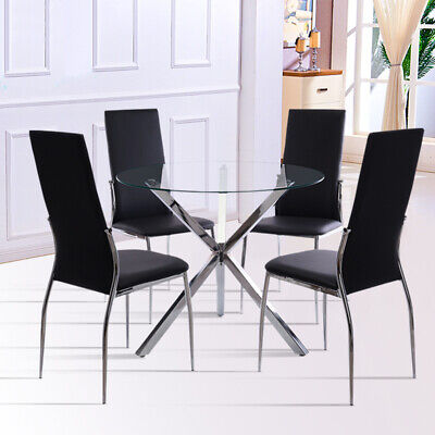 Tempered Glass Round Dining Table and 2/4 Chairs Set Faux Leather Chrome Legs UK
