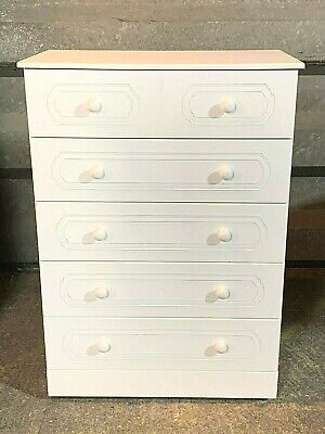 Modern Kingstown Montana five drawer chest of drawers in white Model MNBD1037
