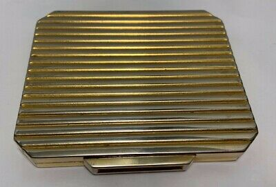 COMPACT Vintage MM MONTE-CARLO Art Deco Gilt Brass Ribbed Octagonal Mirrored 40s