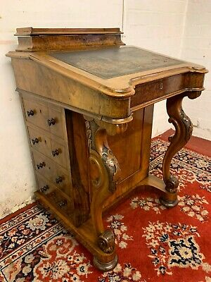 Outstanding Quality Victorian Carved Walnut Davenport Desk Circa 1870