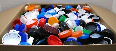 "Assorted Plastic Bottle Caps 13"" x 13"" x 5"" Box Over Five Pounds Arts Crafts"