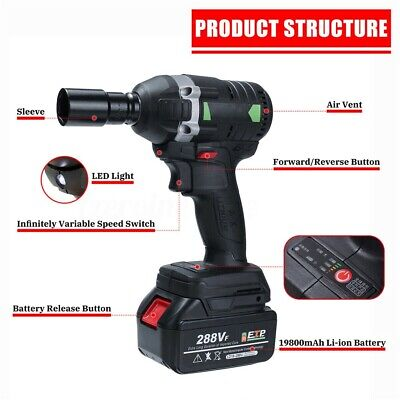 630N.M Electric Cordless Brushless Impact Wrench Ratchet 288VF 3000rpm Driver