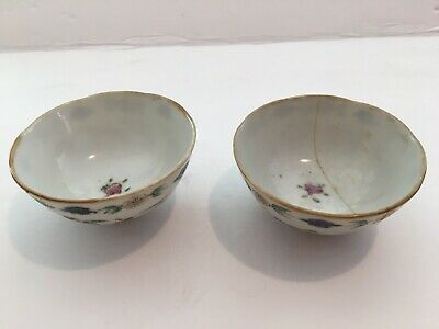 Signed Pair Of antique chinese porcelain cups