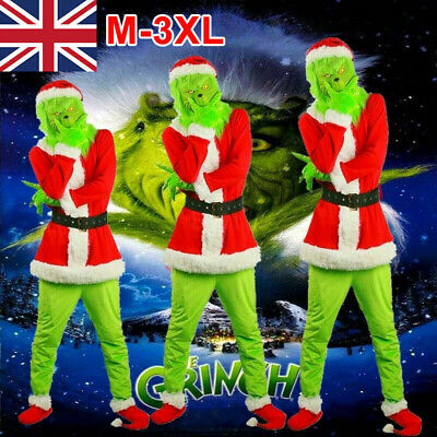 The Grinch Costume Xmas Cosplay Mens Christmas Santa Fancy Dress Outfit Mask Set