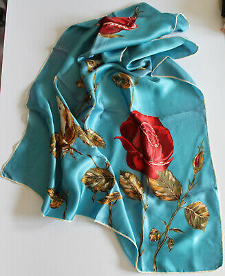 Vintage Ladies Square Satin Scarf. Mainly Blue. Roses motif. 75cm square