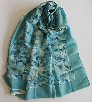 Vintage Ladies Square Scarf. Turquoise patterned.  75 cm square