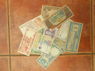 Small Lot of World Banknotes. Interesting Relic Condition, Old, Tatty & Crumbly!