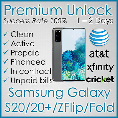 Premium Factory Unlock Code For At&T Att Samsung Galaxy Note 10, 9, S10, J7, J3