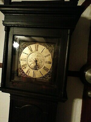 ANTIQUE BRASS FACE GRANDFATHER LONGCASE CLOCk