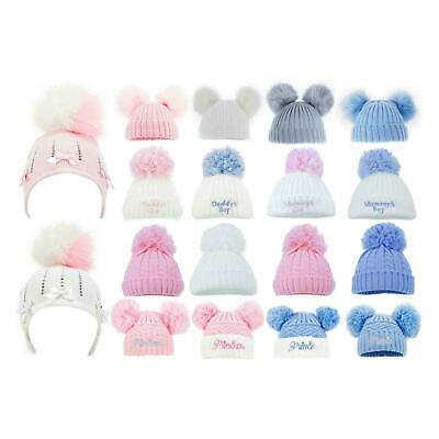 Baby Cable Hat Double Bobble Beanie Knitted Warm Boy Girl Newborn-12 Months Cap