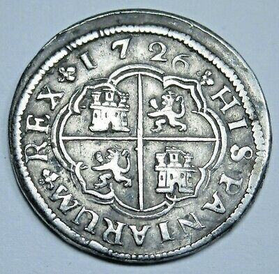 1726 Spanish Silver 1 Reales Piece of 8 Antique Colonial Pirate Treasure Coin