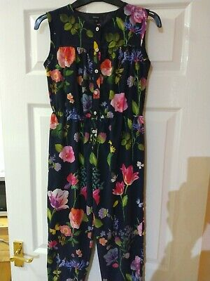 M&S Girls Blue Floral Sleeveless Trouser Jumpsuit Autograph 9-10 Years Old
