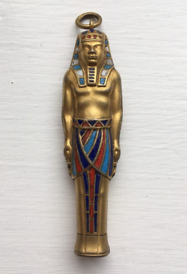 Antique 1920s Egyptian Solid Silver Gilt & Enamel Pharoah Propelling Pencil