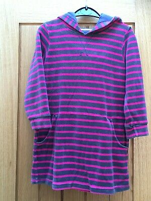 Girls Mini Boden pink and brown/grey stripe velour dress 7 - 8 years