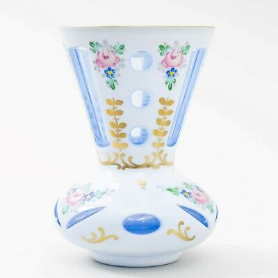 """Czech Bohemian Cased Glass Vase White Cut to Blue Hand Painted Flowers 6"""" Tall"""