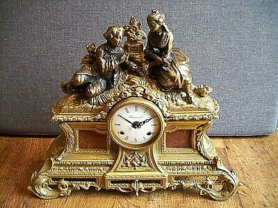 Vintage 20th Century Imperial Bronze and Brass Chiming Mantel Clock (Italian)