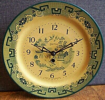 Antique 1930's Smiths Tin Plate Wall Clock with Willow Pattern Design (Blue)