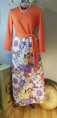 VTg. 1960s MAXI DRESS Quilted Skirt  Hostess Dressing Gown Boho 70s sz. 10