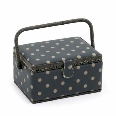 HobbyGift Medium Sewing Basket Charcoal Grey Polka Dots Storage Box