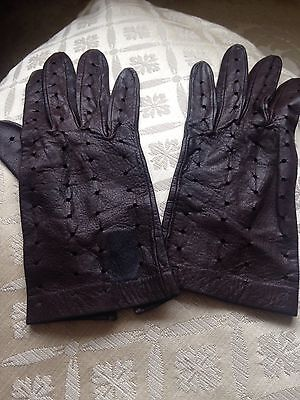 Vintage/Retro Ladies Brown Leather Driving Gloves Size 7