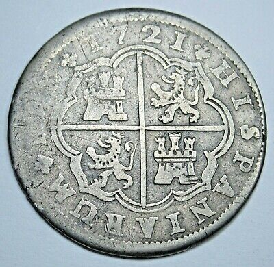 1721 Spanish Silver 2 Reales Authentic Antique Colonial Old Two Bits Pirate Coin