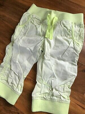 Girls NEXT Neon Yellow Cotton Cropped Summer Trousers Age 6