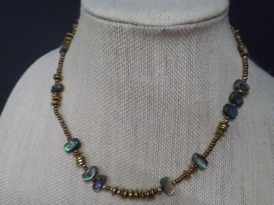 Silpada Brass Bronze Abalone Shell Necklace N1729 .925 Sterling Silver Beads