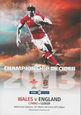 WALES v ENGLAND 6 NATIONS RUGBY MINT PROGRAMME 16th MARCH 2013