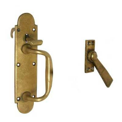 Antique English Late Victorian Solid Brass Door Handle and Latch c. 1900