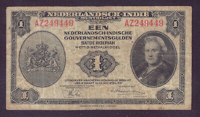 1943 Netherlands Indies 1 Gulden P.111a