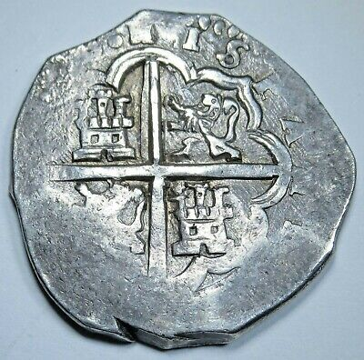 1600s Spanish Seville G Silver 4 Reales Piece of 8 Real Colonial Pirate Cob Coin