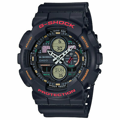 New Casio G-Shock Analog-Digital Black Resin Mens Watch GA140-1A4