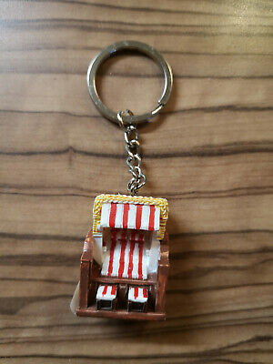 Key Ring, Beach Chair, Baltic Sea, North Sea, Souvenir; Keepsake Inside Red