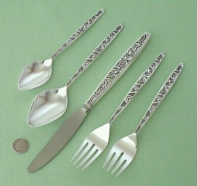 INTERNATIONAL Sterling Silver VALENCIA 5 Piece Place Setting Forks Spoons Knife