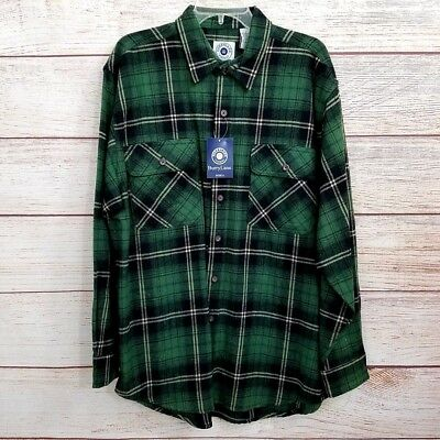 Men's Large Heavy Weight Shirt Green Flannel Plaid Button Burry Lane New w/Tags