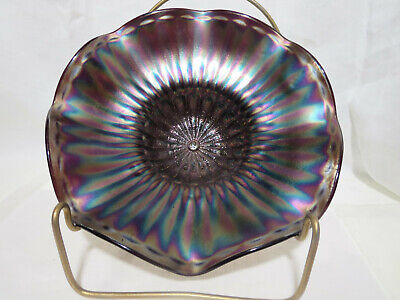 Northwood Glass Antique Amethyst Carnival Glass Bowl Plain Petals Signed