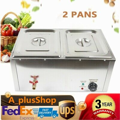 2-Pan Electric Food Warmer Steam Table Steamer 2 Hot Wells 2*10L USA STOCK
