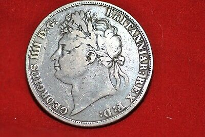 """1821 UK Crown coin in """"fine"""" condition."""
