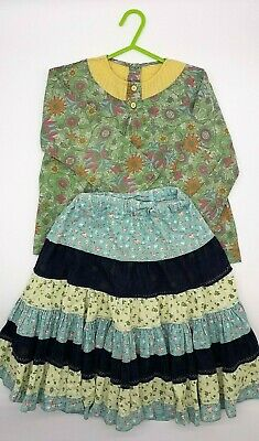 Girls Clothes 3-4 Years Outfit Pumpkin Patch Cotton Cord Skirt Floral Blouse Top