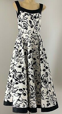 Vintage 1950s inspired sundress with black and white floral print