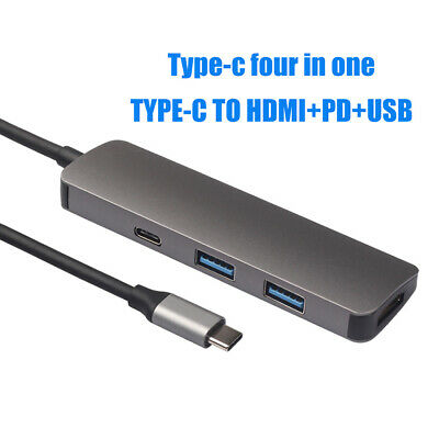 Cy_ 4 in 1 USB 3.0 HDMI 4K Interface Type-C Hub Adapter Cable Splitter Portable