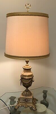 Elegant Large Vintage Marble And French Brass Ormolu Table Lamp Circa 1920