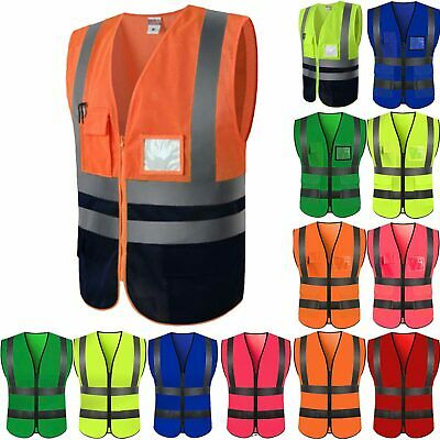 Hi Vis Safety Vest Top High Visibility Security Reflective Waistcoat Work Jacket
