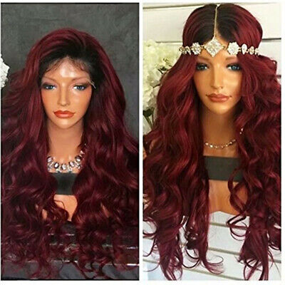 Ombre Wine Red Lace Front Wigs Synthetic, Dark Roots Burgundy Synthetic Wigs