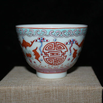 Chinese Old Marked Famille Rose Colored Bats Longevity Pattern Porcelain Cup