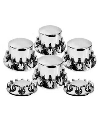 Chrome Front & Rear Axle Rounded LUG Cover Nut Combo Kit - 33 mm hub caps