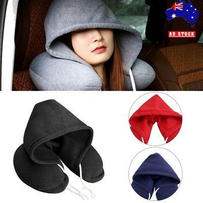 Portable Hooded Hoodie U-Shaped Neck Rest Pillow Cushion For Travel Car Airplane