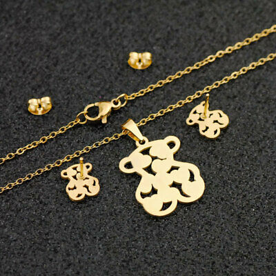 Golde Plated Stainless Steel Jewelry Set Hollow Bear Shaped Necklace Earrings
