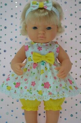 Dolls Clothes For 38cm Miniland Doll FLORAL DRESS~BLOOMERS~HEADBAND