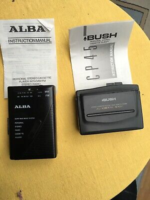 Vintage Alba Stereo Cassette Player With Radio And Bush Walkman Cassette Player
